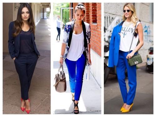 С чем носить темно-синие брюки